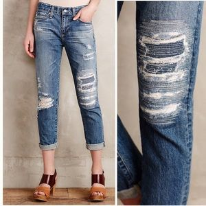 AG The Beau Slouchy Skinny Distressed Jeans
